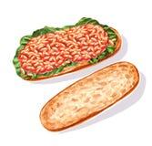 Bocadillo con las habas blancas en salsa de tomate en baguette libre illustration