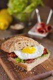 Bocadillo con pan oscuro, los tomates secados y el huevo Foto de archivo