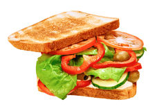 Bocadillo con pan y verduras frescas tostados Imagen de archivo