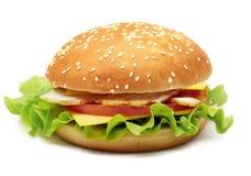 Bocadillo con ronquido, queso, los tomates y la lechuga Imagen de archivo libre de regalías