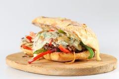 Bocadillo de filete sabroso de carne de vaca con las cebollas, la seta y el queso derretido del provolone Fotos de archivo libres de regalías