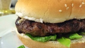 Bocadillo de la hamburguesa Fotografía de archivo