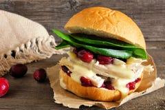 Bocadillo de pavo asado con la salsa y el queso de arándano contra la madera imagen de archivo libre de regalías