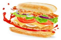 Bocadillo de pollo con tocino, los tomates y el splat de la salsa de tomate fotografía de archivo libre de regalías