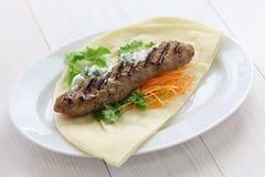 Bocadillo de tierra del kebab del cordero Imagenes de archivo