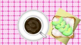 Bocadillo del café sólo y del aguacate stock de ilustración