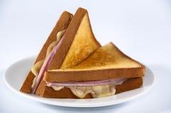 Bocadillo del jamón y del queso Fotografía de archivo
