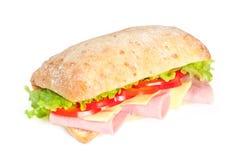 Bocadillo del tomate, del salami y de la pimienta Foto de archivo libre de regalías