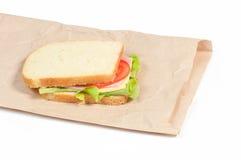 Bocadillo del tomate, del salami y de la pimienta Fotos de archivo libres de regalías