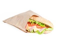 Bocadillo del tomate, del salami y del queso Fotos de archivo libres de regalías