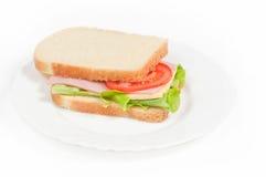 Bocadillo del tomate, del salami y del queso Fotografía de archivo