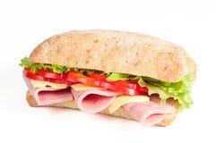 Bocadillo del tomate, del salami y del queso Imagen de archivo