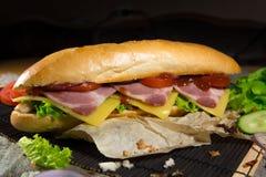 Bocadillo largo con la carne, las verduras y la salsa de barbacoa Foto de archivo