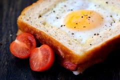 Bocadillo ligero con el huevo y los tomates Fotografía de archivo libre de regalías