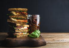 Bocadillo o panini de Caprese Pan entero del grano, mozzarella, cereza y tomates secados, albahaca foto de archivo