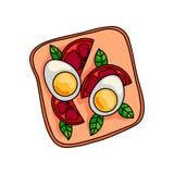 Bocadillo sabroso con el medio huevo hervido y el tomate cutted libre illustration