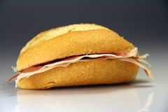Sandwich Spain typical bread with Serrano ham Stock Image