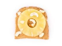 Bocadillo sano de la mantequilla de cacahuete Imagenes de archivo