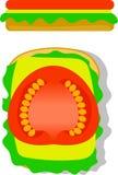 Bocadillo vegetariano con vista superior y lateral del queso Imagenes de archivo