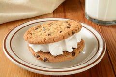 Bocadillo y leche de la galleta Foto de archivo libre de regalías