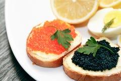 Bocadillos con el caviar Imagen de archivo libre de regalías