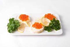 Bocadillos con el caviar rojo Imagen de archivo