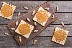 bocadillos de la mantequilla de cacahuete imagen de archivo libre de regalías