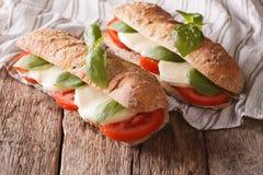 Bocadillos italianos con los tomates, el queso de la mozzarella y los vagos frescos Imagenes de archivo