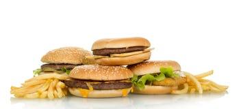 Bocadillos sabrosos de la hamburguesa Fotografía de archivo