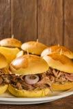 Bocadillos tirados del cerdo con la salsa y la cebolla del Bbq Foto de archivo libre de regalías