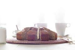 Bocado con la torta, el té y el café Fotos de archivo libres de regalías