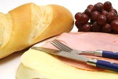 Bocado del jamón y del queso Imagen de archivo libre de regalías