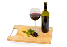Bocado delicioso del vino y de las aceitunas Foto de archivo libre de regalías