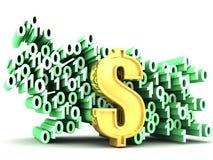 Bocado e dólar binários dos bytes Foto de Stock Royalty Free
