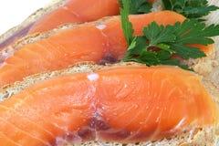 Bocado jugoso de las rebanadas de color salmón Fotos de archivo