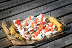Bocado sano de la comida campestre Imagen de archivo libre de regalías