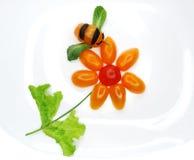 Bocado vegetal divertido creativo con el tomate Imagen de archivo libre de regalías