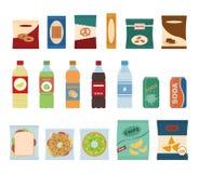 Bocados de los alimentos de preparación rápida e iconos planos de las bebidas ilustración del vector