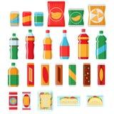 Bocados de los alimentos de preparación rápida e iconos planos del vector de las bebidas Productos de la máquina expendedora Foto de archivo libre de regalías