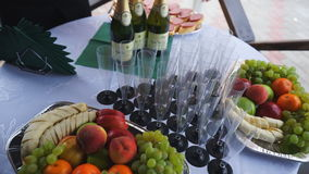 Bocados para el vino en la tabla de comida fría almacen de video