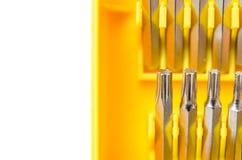 Bocados substituíveis para a chave de fenda isolada em um fundo branco imagem de stock