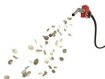 Bocal de combustível que derrama moedas de EUR Imagens de Stock Royalty Free