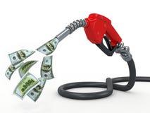 Bocal e dólar da bomba de gás no fundo branco ilustração do vetor