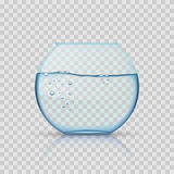 Bocal à poissons en verre réaliste, aquarium avec de l'eau sur le fond transparent Photos stock