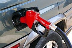 Bocal vermelho da bomba de gasolina Fotos de Stock Royalty Free