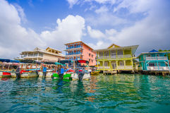 Bocas del Toro Panama. BOCAS DEL TORO, PANAMA - APRIL 23, 2015 : Bocas Town, a hub for dining, shopping and nightlife, with reggae music emanating from open-air royalty free stock image