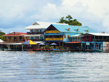 Bocas del Toro town. Caribbean restaurants and hotels in archipelago of Bocas del Toro, Panama royalty free stock images