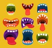 Bocas do monstro Expressão facial engraçada Imagem de Stock