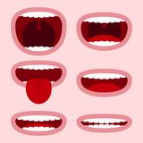Bocas fijadas con diversas expresiones Elementos de la cara de la historieta con las emociones - sonrisa, gritando, mostrando la  ilustración del vector