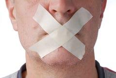 Bocca coperta di nastro adesivo Fotografia Stock Libera da Diritti